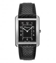 Salvatore Ferragamo Black Rectangle Watch