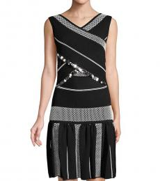 Roberto Cavalli Black White Embellished Sleeveless Textured Dress