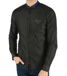 Armani Jeans Dark Grey Cotton Logo Jacket