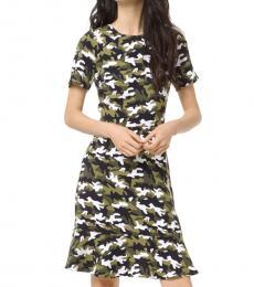 Michael Kors Camo Print Camouflage Flounce Dress