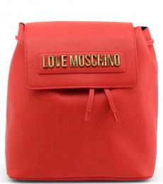 Love Moschino Red Logo Letter Medium Backpack
