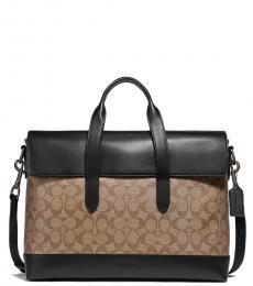 Coach Tan/Black Hamilton Portfolio Large Briefcase Bag