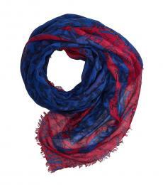 Armani Jeans Red-Blue Logo Scarf
