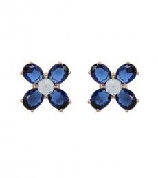Blue Clover Stud Earrings