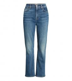 7 For All Mankind Blue High Waist Slim Fit Jeans