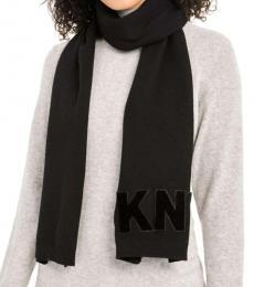 DKNY Black Logo Velvet Flocked Scarf