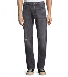 Hugo Boss Dark Grey Slim-Fit Distressed Jeans