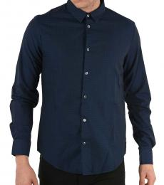 Armani Jeans Navy Blue Classic Slim Fit Shirt