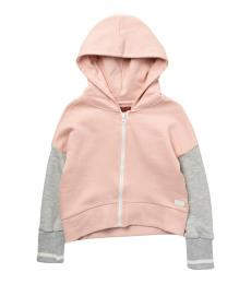 7 For All Mankind Little Girls Antique Pink Colorblock Sleeve Zip Hoodie