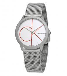 Calvin Klein Silver Minimal White Dial Ladies Watch