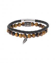 Ben Sherman Brown Bead & Braided Bracelet Set