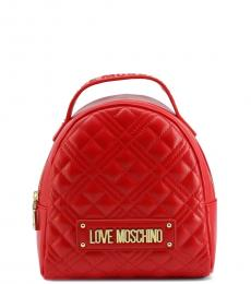 Love Moschino Red Quilted Mini Backpack
