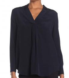 Diane Von Furstenberg Navy Sanorah Silk Pleated Back Blouse