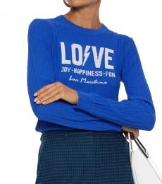Love Moschino Bright Blue Jacquard And Ribbed-Knit Sweater