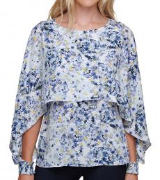 DKNY White Floral-Print Cape-Overlay Top
