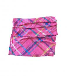 Coach Coral Multi-Color Tattersall Plaid Scarf