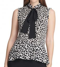 DKNY White Pleated Georgette Tie Neck Top