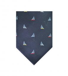 Salvatore Ferragamo Blue Sailboat Print Tie