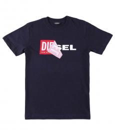 Diesel Little Boys Blue Cotton Crewneck T-Shirt