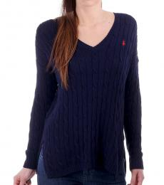 Bright Navy Cable-Knit Side-Slit Sweater
