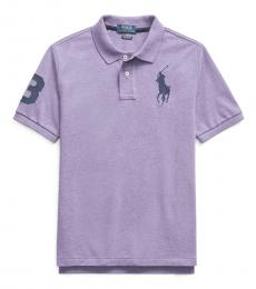 Ralph Lauren Boys Safari Purple Mesh Polo