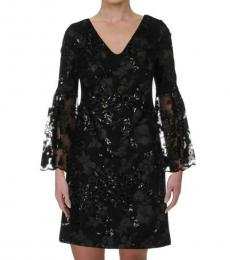 Ralph Lauren Black Embroidered Lace Bell Sleeve Mini Dress