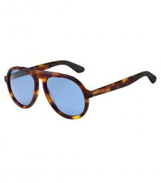 Jimmy Choo Tortoise Blue Pilot Sunglasses
