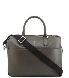 Emporio Armani Grey Solid Large Briefcase Bag