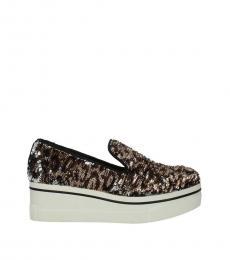 Stella McCartney Brown Sequins Embellished Platform Loafers