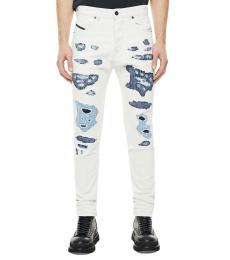 White Distressed Patches Jeans