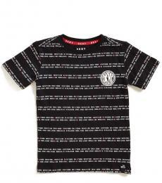 DKNY Little Boys Black Logo Stripe T-Shirt