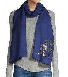 Sky Blue Sequin-Accent Scarf