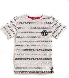 DKNY Little Boys Light Grey Logo Stripe T-Shirt