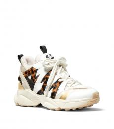 Michael Kors Ecru Hero Mixed-Media Sneakers