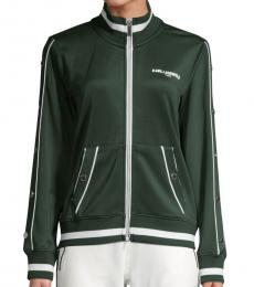 Karl Lagerfeld Bottle Green Funnelneck Track Jacket