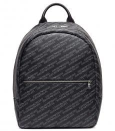 Emporio Armani Black Logo Printed Large Backpack