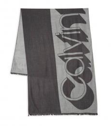 Black Fringe-Trimmed Logo Scarf