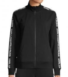 Karl Lagerfeld Black Logo Tape Zipper Jacket