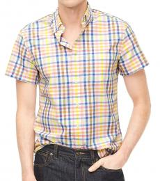 Multicolor Shorts-Sleeve Slim Plaid Shirt