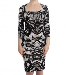 Just Cavalli Black Printed Sheath Dress