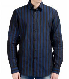Dark Blue Striped Casual Shirt