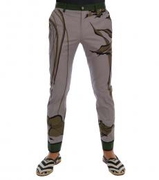 Grey Leaves Print Pants