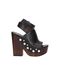Black Ankle Strap Leather Heels