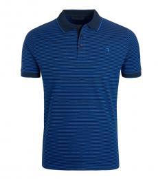 Trussardi Blue Striped Contrast Collar Polo