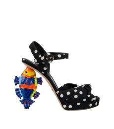 Dolce & Gabbana Black Polka Dot Fish Heels