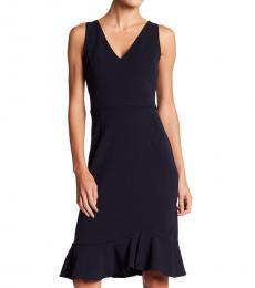 Navy Ruffle Hem V-Neck Dress