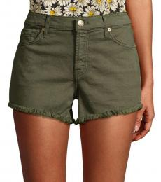 Olive Frayed Hem Shorts