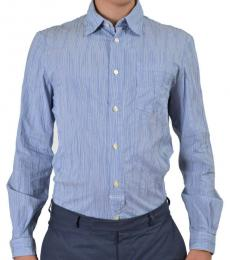 Armani Jeans Blue Striped Long Sleeve Dress Shirt