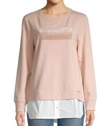 Calvin Klein Blush Logo Cotton Twofer Sweatshirt