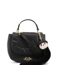 Love Moschino Black Embossed Heart Small Satchel